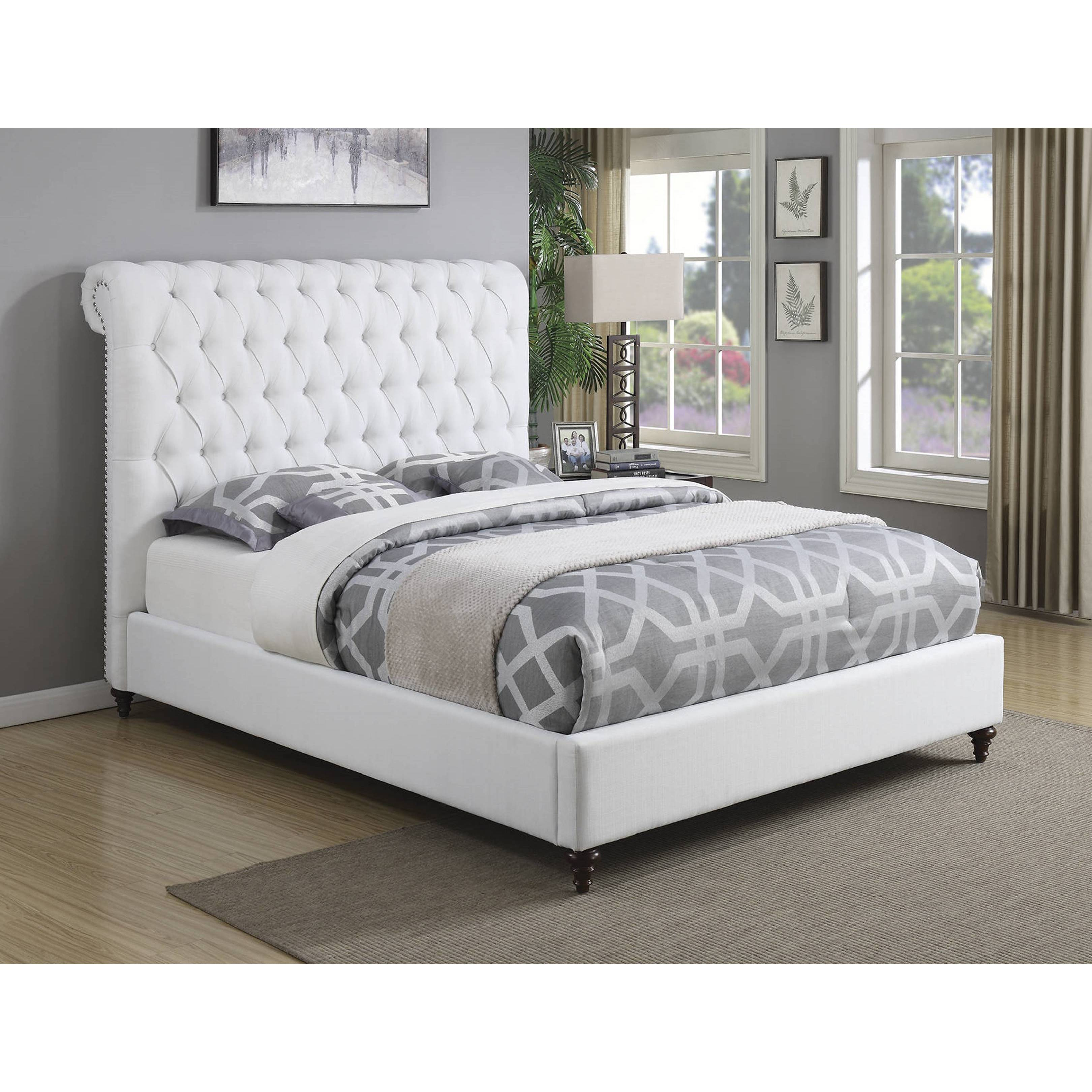 Modern Design Upholstered Bed With Diamond Button Tufted Headboard And Nailhead Trim Overstock 16305351