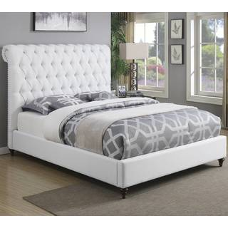 Modern Design Upholstered Bed with Diamond Button Tufted Headboard and Nailhead Trim