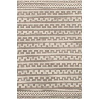 ecarpetgallery Flatweave Izmir Kilim Grey, Ivory Wool Kilim (5'3 x 8'2)