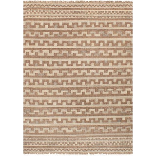 ecarpetgallery Flatweave Izmir Kilim Brown, Ivory Wool Kilim (5'4 x 7'9)