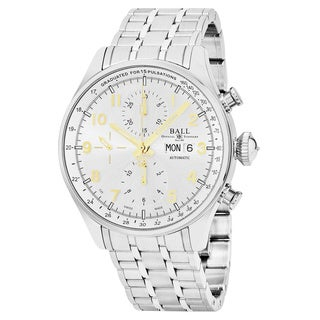 Ball Men's CM3038C-SJ-SL 'Trainmaster' Silver Dial Stainless Steel Chronograph Pulse meter Swiss Automatic Watch