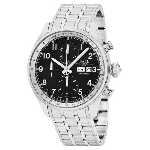 Ball Men's 'Trainmaster' Black Dial Stainless Steel Chronograph Pulse meter Swiss Automatic Watch