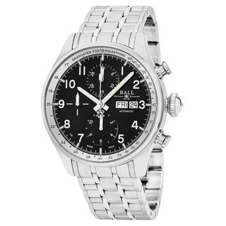 Ball Men's CM3038C-SJ-BK 'Trainmaster' Black Dial Stainless Steel Chronograph Pulse meter Swiss Automatic Watch