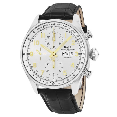 Ball Men's 'Trainmaster' Silver Dial Black Leather Strap Chronograph Pulse meter Swiss Automatic Watch