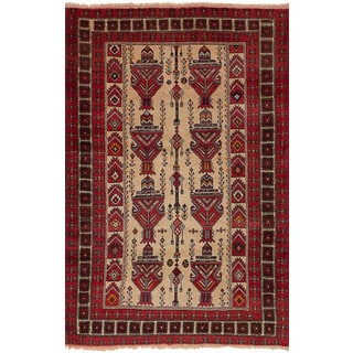 ecarpetgallery Hand-Knotted Persian Vintage Ivory Wool Rug (3'7 x 5'9)
