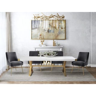 Adeline Goldtone Stainless Steel and White Wood Dining Table
