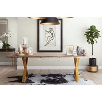 Leah Goldtone Stainless Steel and Wood Dining Table - Brown