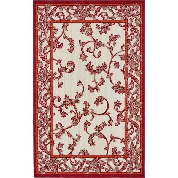 Transitional Border Beige And Red Indoor Outdoor Area Rug 5 X27
