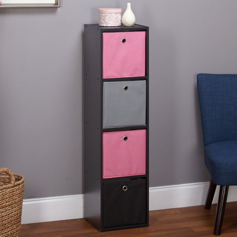 Simple Living Jolie Bookcase with Four Fabric Bins