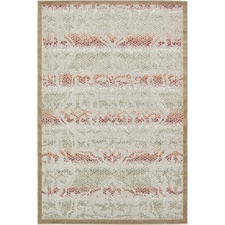 Transitional Striped Beige Indoor/Outdoor Area Rug (6' x 9')