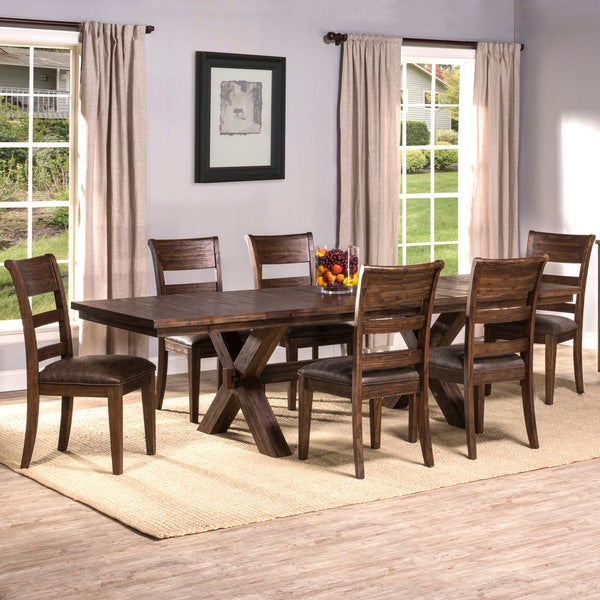 Hillsdale Furniture Park Avenue Walnut Wood 7 Piece Dining Set