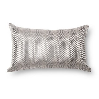 Embroidered Silver Geometric Feather and Down Filled or Polyester Filled 13 x 21 Throw Pillow or Pillow Cover