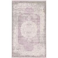 Arcadia Medallion Purple Machine-made Area Rug (5' x 8')
