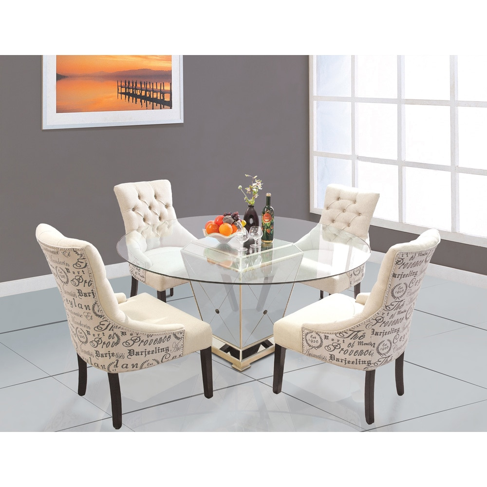 Best Master Furniture  YJ001 Wood and Glass Round Dining Table - Bronze (YJ001 Dining Table)