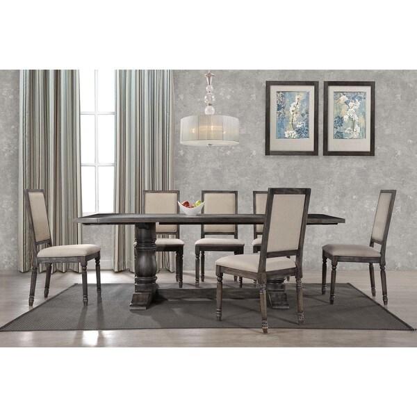 Shop Best Master Furniture Weathered Oak Sleigh: Shop Best Master Furniture Lisa Smoked Grey Dining Table