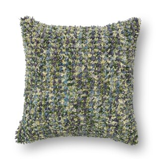 Woven Multi Green/ Plum Shag 18-inch Throw Pillow or Pillow Cover