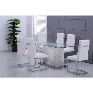 best master furniture ericka glass rectangular dining table - White Glass Dining Table