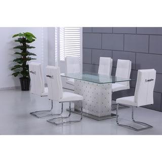 Best Master Furniture U0027Erickau0027 Glass Rectangular Dining Table
