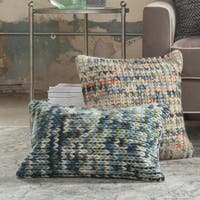 Woven Multi Green/ Blue Sweater 13 x 21 Throw Pillow or Pillow Cover