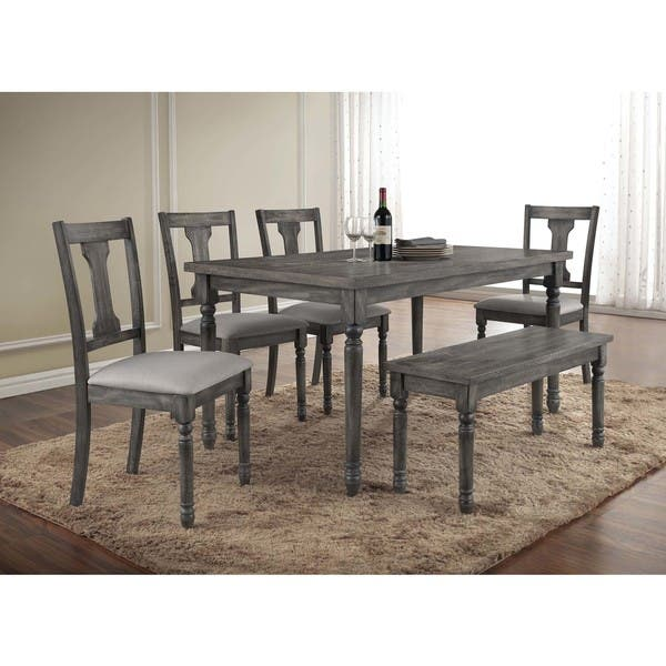 Best Master Furniture Demi Grey Wood And Veneer Distressed Dining Table