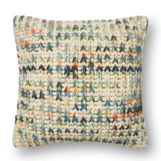 Woven Multi Sweater Feather and Down Filled or Polyester Filled 18-inch Throw Pillow or Pillow Cover