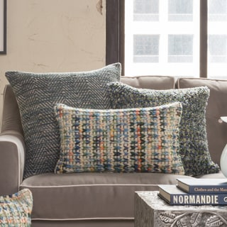 Woven Multi Sweater Feather and Down Filled or Polyester Filled 13x21 Throw Pillow or Pillow Cover