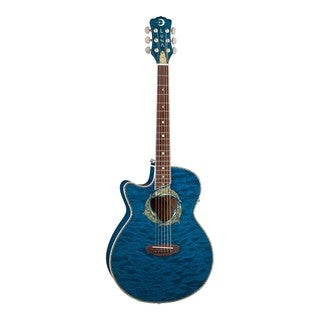 Luna Guitars FAUDPNLEFTY Fauna Dolphin Lefty Acoustic/Electric Guitar, Rosewood Fingerboard - Trans Blue