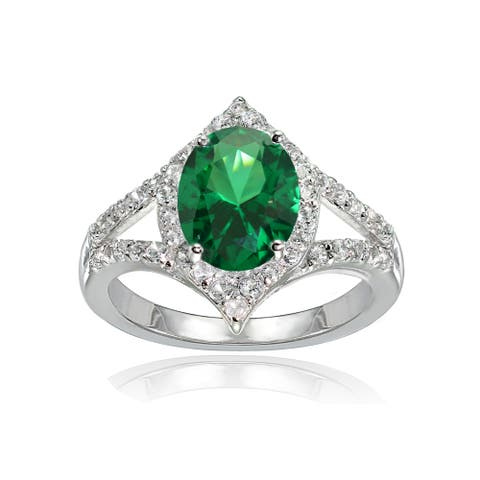 Glitzy Rocks Sterling Silver Simulated Emerald and White Topaz Oval-shaped Fashion Ring
