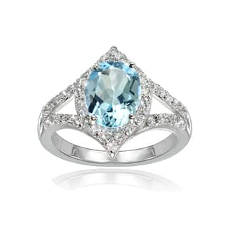 Glitzy Rocks Sterling Silver Blue Topaz and White Topaz Oval-shaped Fashion Ring