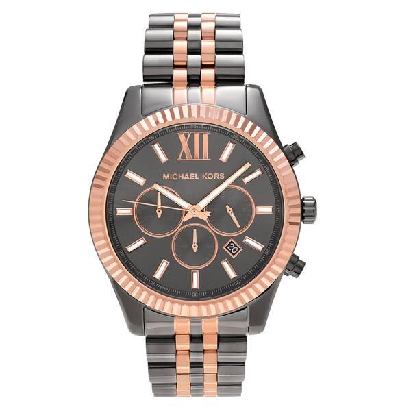 17105d2ea Michael Kors Men's MK8561 'Lexington' Two Tone Stainless Steel Grey  Chronograph Bracelet Watch - Two-Tone
