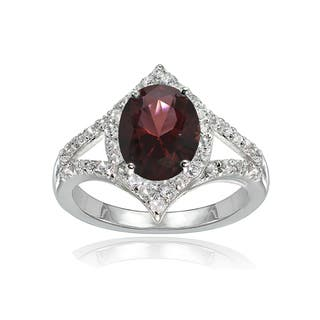 Glitzy Rocks Sterling Silver Garnet and White Topaz Oval-shaped Fashion Ring|https://ak1.ostkcdn.com/images/products/16306262/P22670853.jpg?impolicy=medium