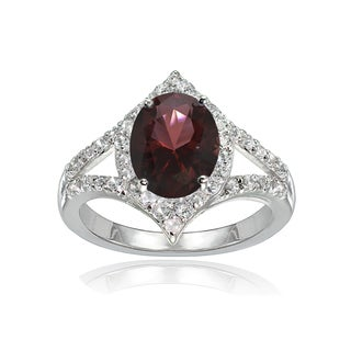 Glitzy Rocks Sterling Silver Garnet and White Topaz Oval-shaped Fashion Ring