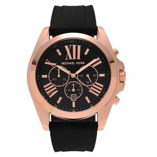 Michael Kors Men's 'Bradshaw' MK8559 Rose Goldtone Stainless Steel Chronograph Dial Black Strap Watch