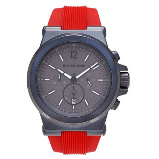 Michael Kors Men's MK8558 'Dylan' Blue Ion-plated Stainless Steel Chronograph Red Silicone Strap Watch