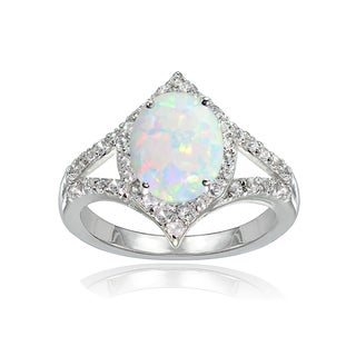 Glitzy Rocks Sterling Silver Simulated White Opal and White Topaz Oval-shaped Fashion Ring