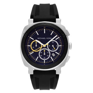 Michael Kors Men's MK8553 'Bax' Stainless Steel Blue Chronograph Dial Black Silicone Strap Watch