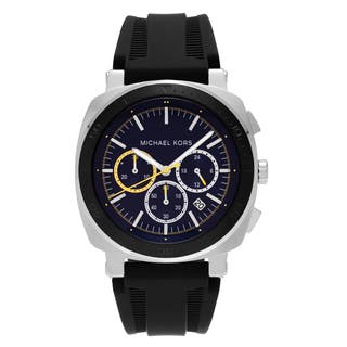 9f9a86b9b05a Michael Kors Men s MK8553  Bax  Stainless Steel Blue Chronograph Dial Black  Silicone Strap Watch