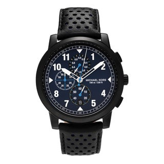 Michael Kors Men's MK8547 'Paxton' Black IP Stainless Steel Chronograph Dial Leather Strap Watch