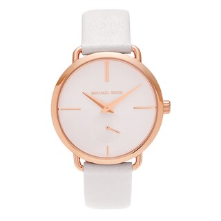 Michael Kors Women's MK2660 'Portia' Rose Goldtone Stainless Steel White Leather Strap Watch