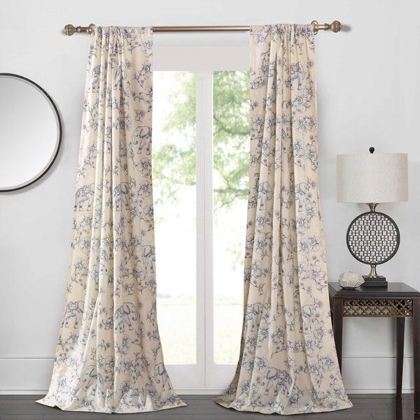 Saffi Blue Elephant 4 Piece Curtain Panel Pair