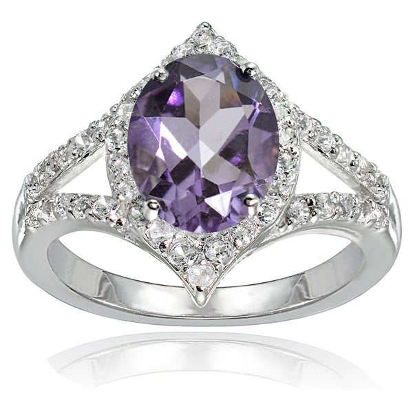Glitzy Rocks Sterling Silver Amethyst and White Topaz Oval-shaped Fashion Ring. Opens flyout.