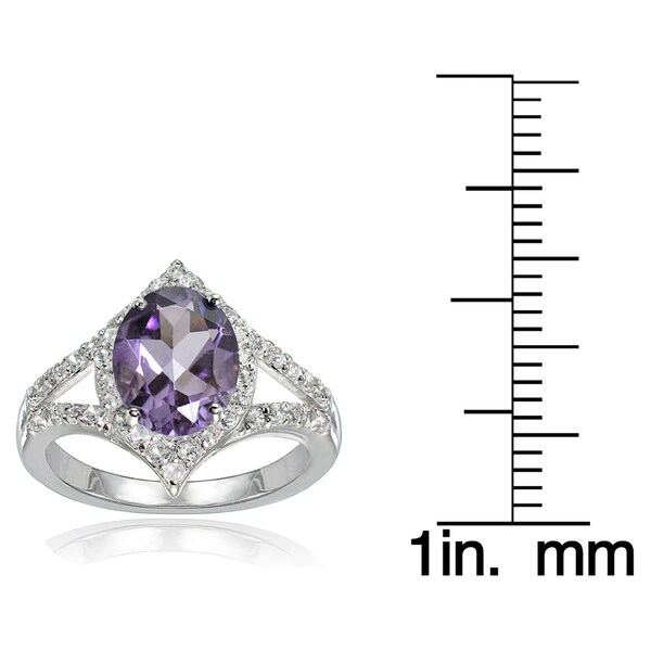 Glitzy Rocks Sterling Silver Amethyst and White Topaz Oval-shaped Fashion Ring