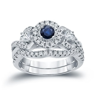 Auriya 14k Gold 1/5ct Blue Sapphire and 3/5ct TDW Diamond Braided Bridal Ring Set (H-I, I1-I2)
