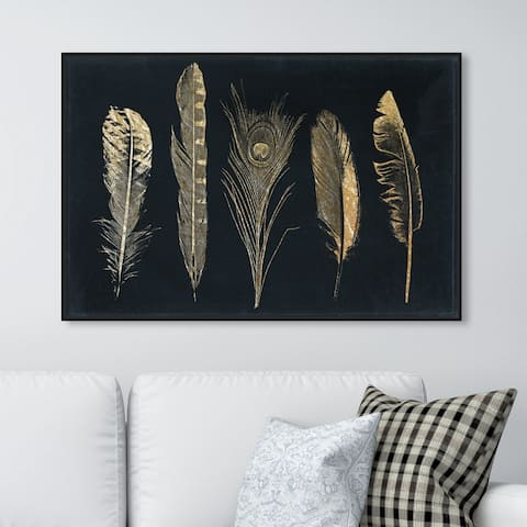Oliver Gal Fashion and Glam Wall Art Framed Canvas Prints 'Corinthian Feathers' Feathers - Gold, Blue