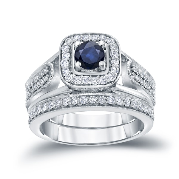 14k Gold Vintage 16ct Sapphire And 12ct Tdw Halo Diamond Engagement Ring Set By Auriya