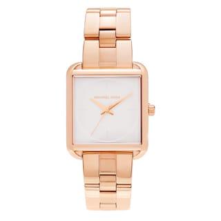 Michael Kors Women's MK3645 'Lake' Rose Goldtone Stainless Steel Square Dial Link Bracelet Watch