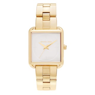 Michael Kors Women's 'Lake' MK3644 Goldtone Stainless Steel Square Link Bracelet Watch