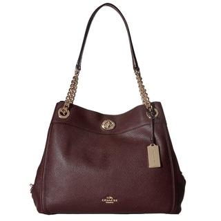 Coach Turnlock Edie Light Gold/Oxblood Leather Hobo Handbag