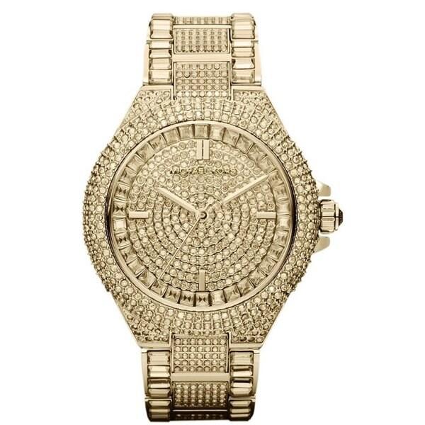 f561e6ab190f Shop Michael Kors Women s MK5720  Camille  Gold-tone Pave Crystal ...