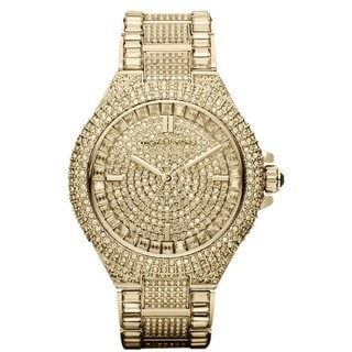 Michael Kors Women's MK5720 'Camille' Gold IP Stainless Steel Crystal Pave Link Bracelet Watch